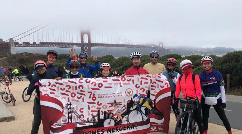Masyarakat Indonesia Gowes Bersama Seberangi Jembatan Golden Gate San Francisco